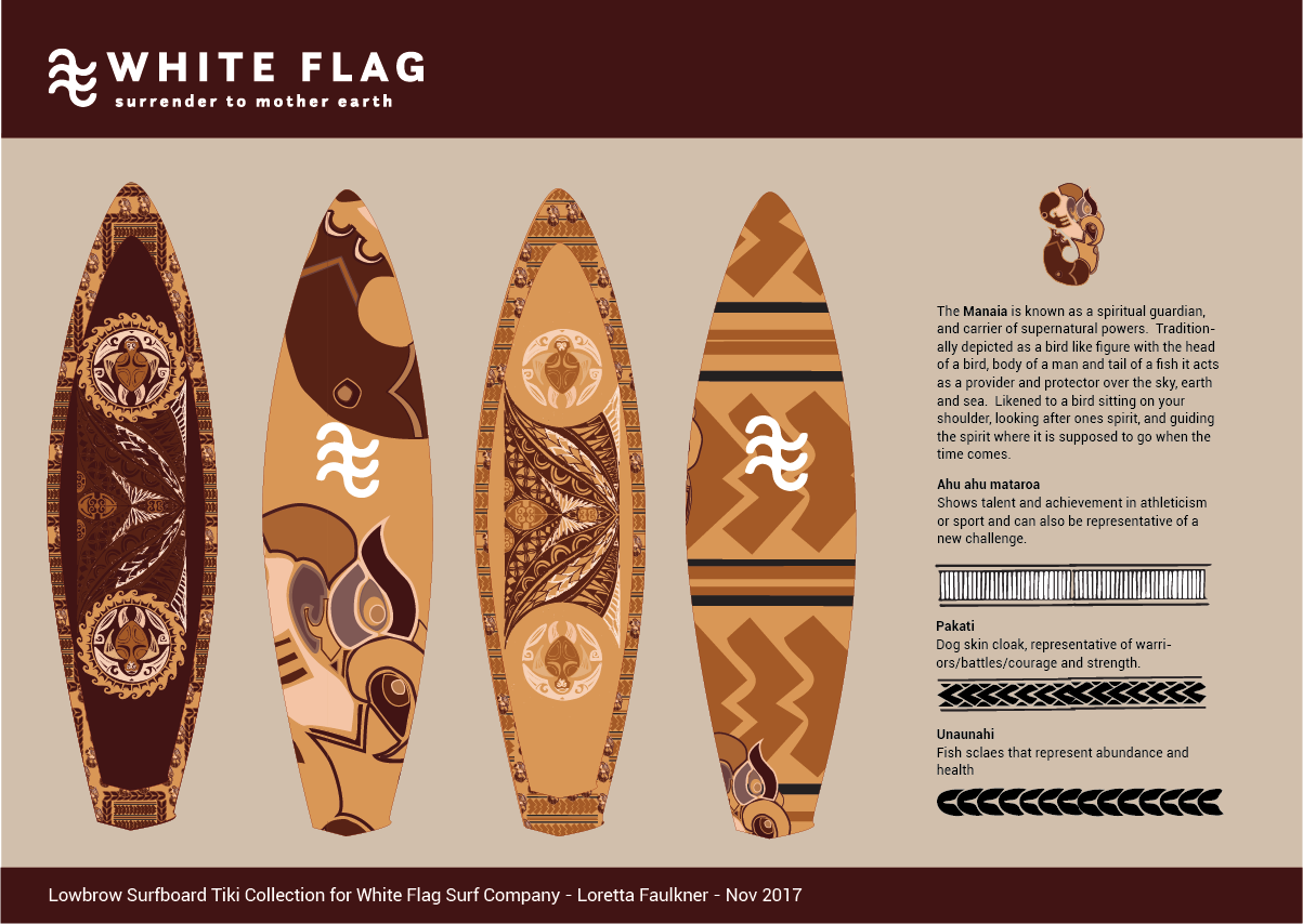 Byron Bay Graphic Designs White Flag Eco Surf Branding and Merchandise Design Surfboard Designs in Sepia Colors with Tiki Designs