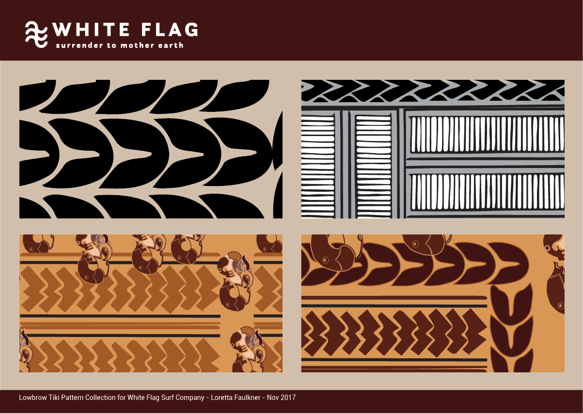 Byron Bay Graphic Designs White Flag Eco Surf Branding and Merchandise Design Fabric Patterns Loretta Faulkner