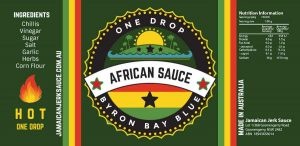 Jamaican Jerk Sauce African Chilli Sauce Label Byron Bay Graphic Designs