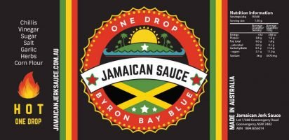 One Drop Jamaican Chilli Sauce Labels Byron Bay Graphic Designs